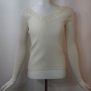 Inspire Sweater Ivory Ribbed Knit Lace V-Neck
